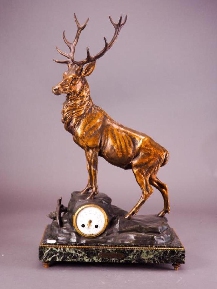 REGAL ELK BRONZE SCULPTURE CLOCK BY L. CARVIN