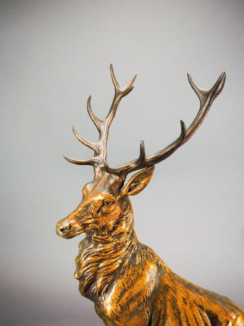 REGAL ELK BRONZE SCULPTURE CLOCK BY L. CARVIN - 5