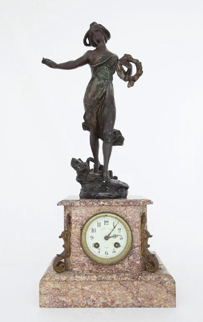 FRENCH MANTEL CLOCK WITH BEAUTY