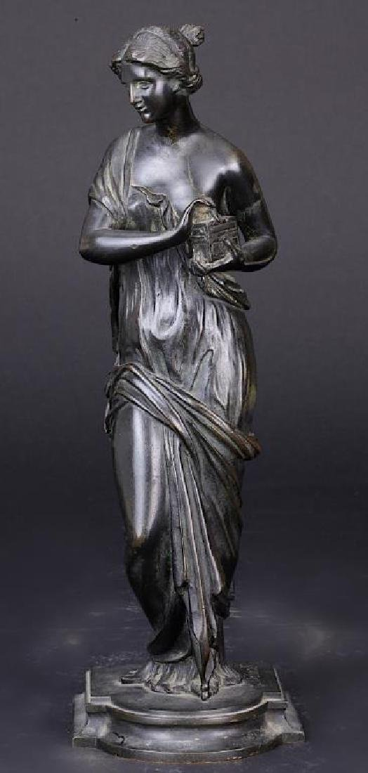 FRENCH BRONZE STATUE OF A GODDESS