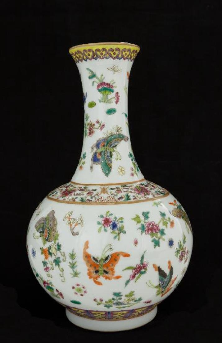 CHINESE FAMILLE ROSE BUTTERFLY VASE