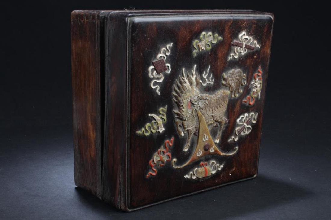 CHINESE HARDWOOD BOX, WITH MOTHER OF PEARL