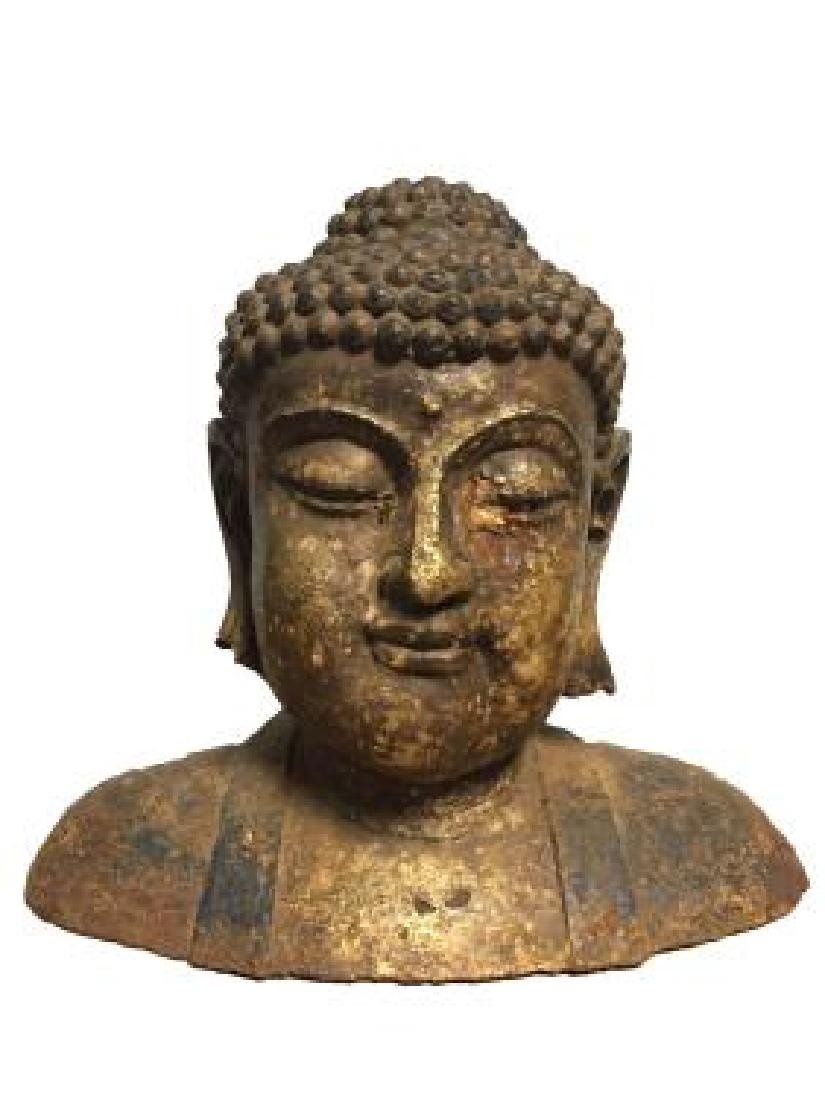 ANTIQUE CHINESE GILTBRONZE BUDDHA HEAD