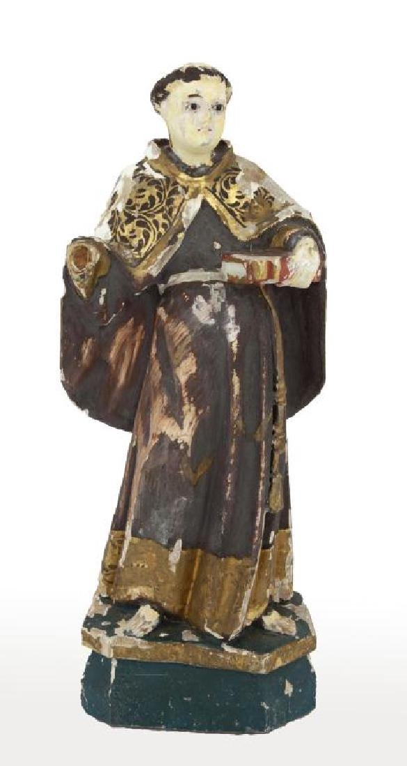 ANTIQUE CARVED WOOD FIGURE OF SAINT DOMINIC