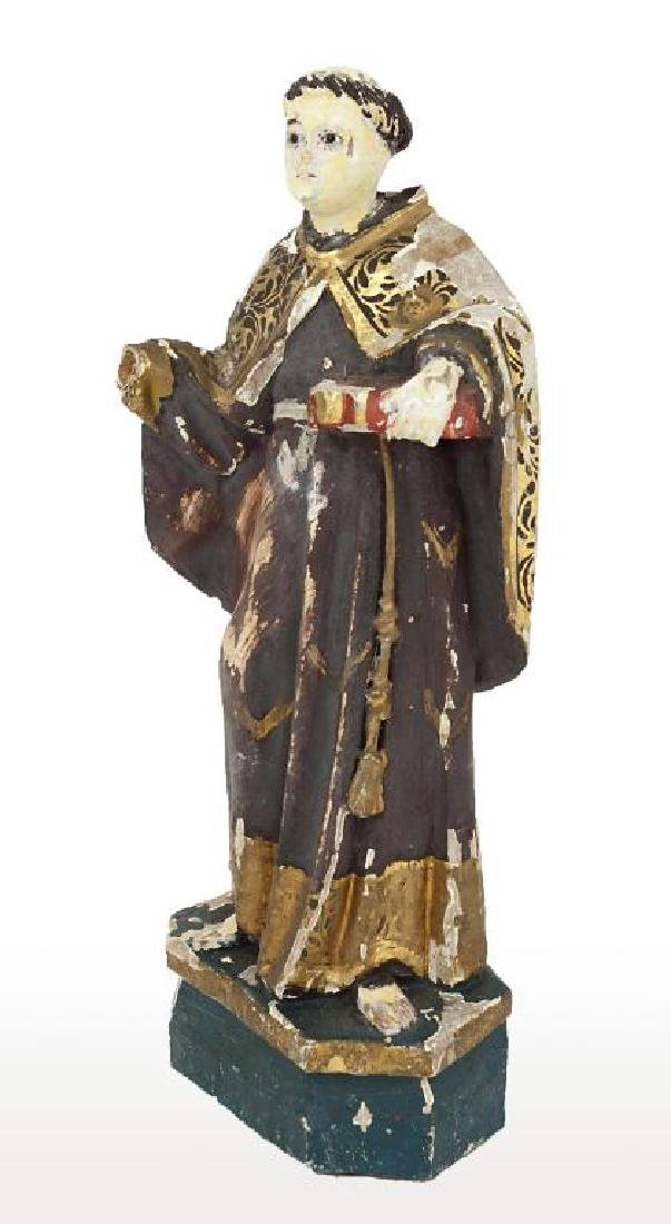 ANTIQUE CARVED WOOD FIGURE OF SAINT DOMINIC - 2