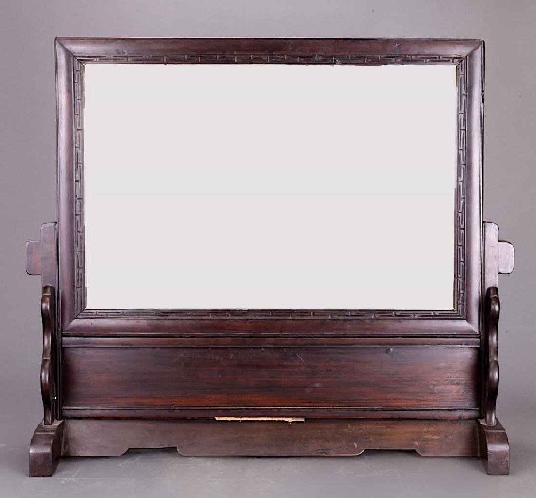 ANTIQUE WOODEN FRAMED MIRROR WITH STAND