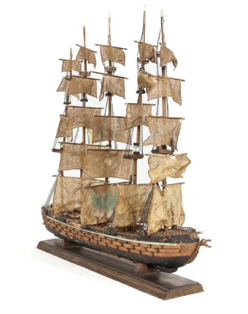 LARGE WOODEN MODEL SHIP