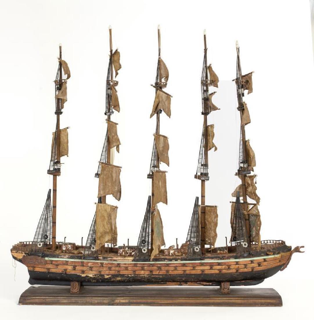 LARGE WOODEN MODEL SHIP - 2