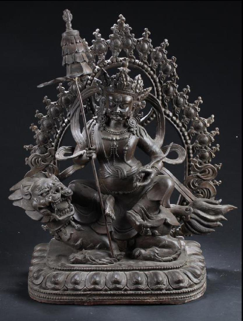 ANTIQUE CHINESE BRONZE 'FORTUNE GOD' DEITY STATUE