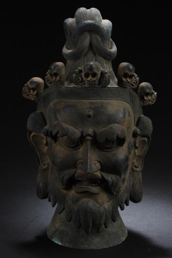 CHINESE BRONZE DEITY HEAD STATUE