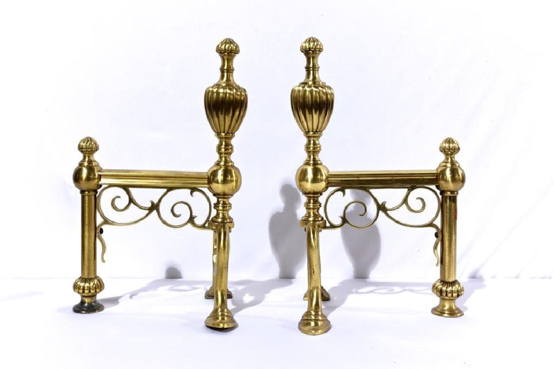 PAIR OF BRASS FIREPLACE RACKS