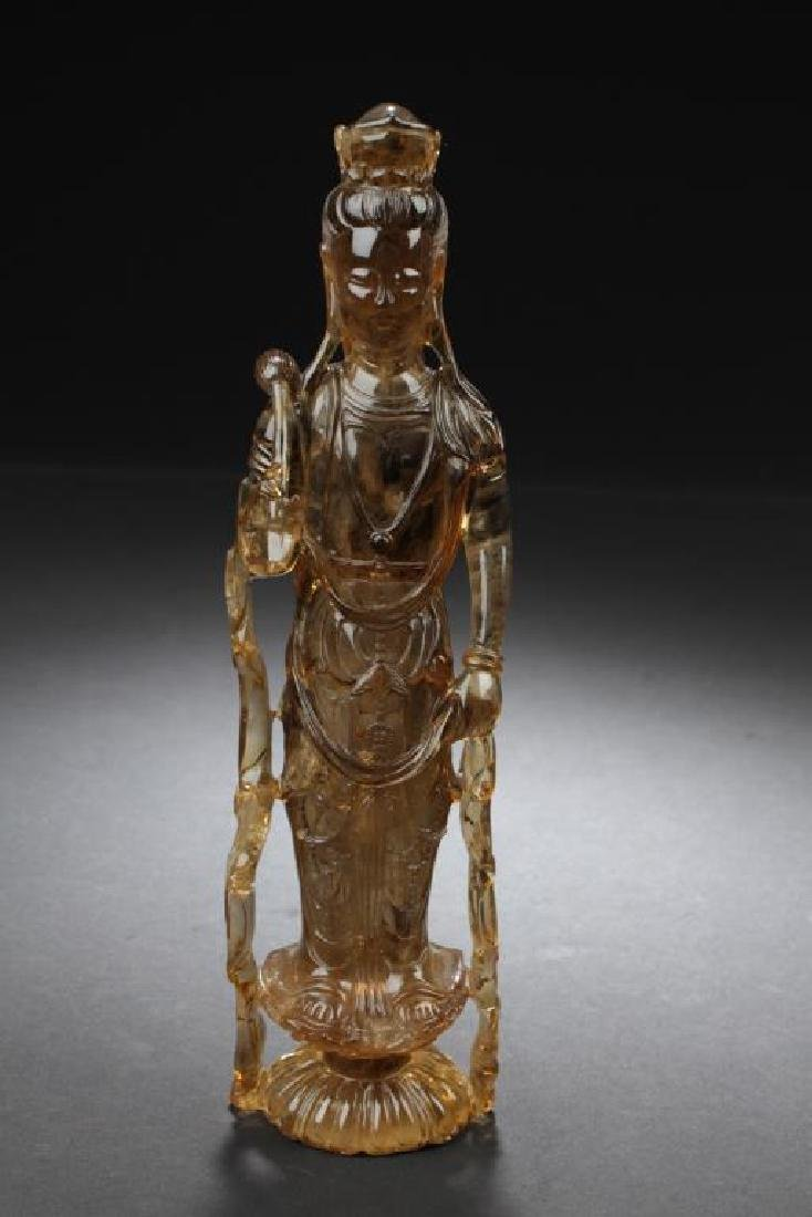 ANTIQUE CHINESE CRYSTAL GUANYIN STATUE