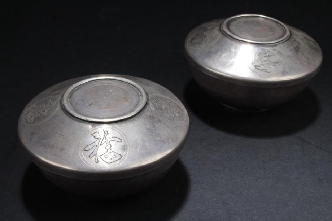 TWO ANTIQUE CHINESE SILVER CUPS WITH LID COVER