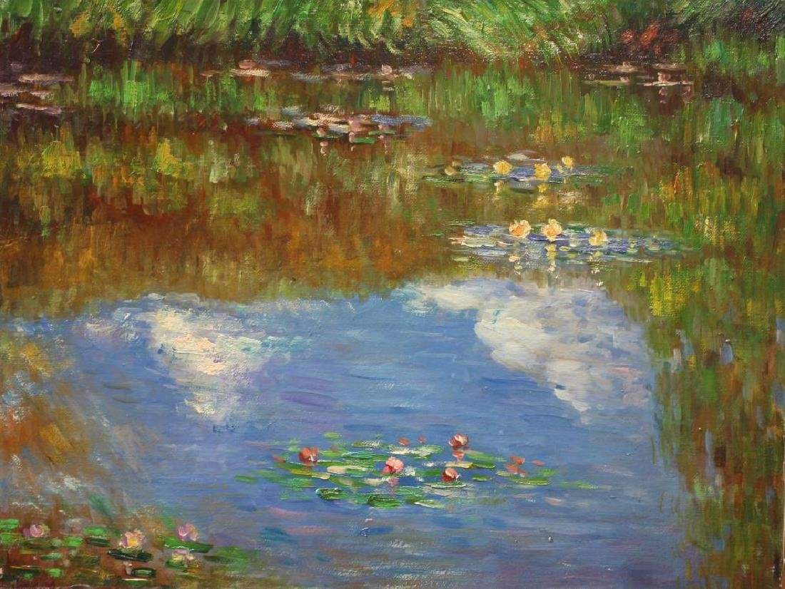 IMPRESSIONIST OIL PAINTING OF A POND
