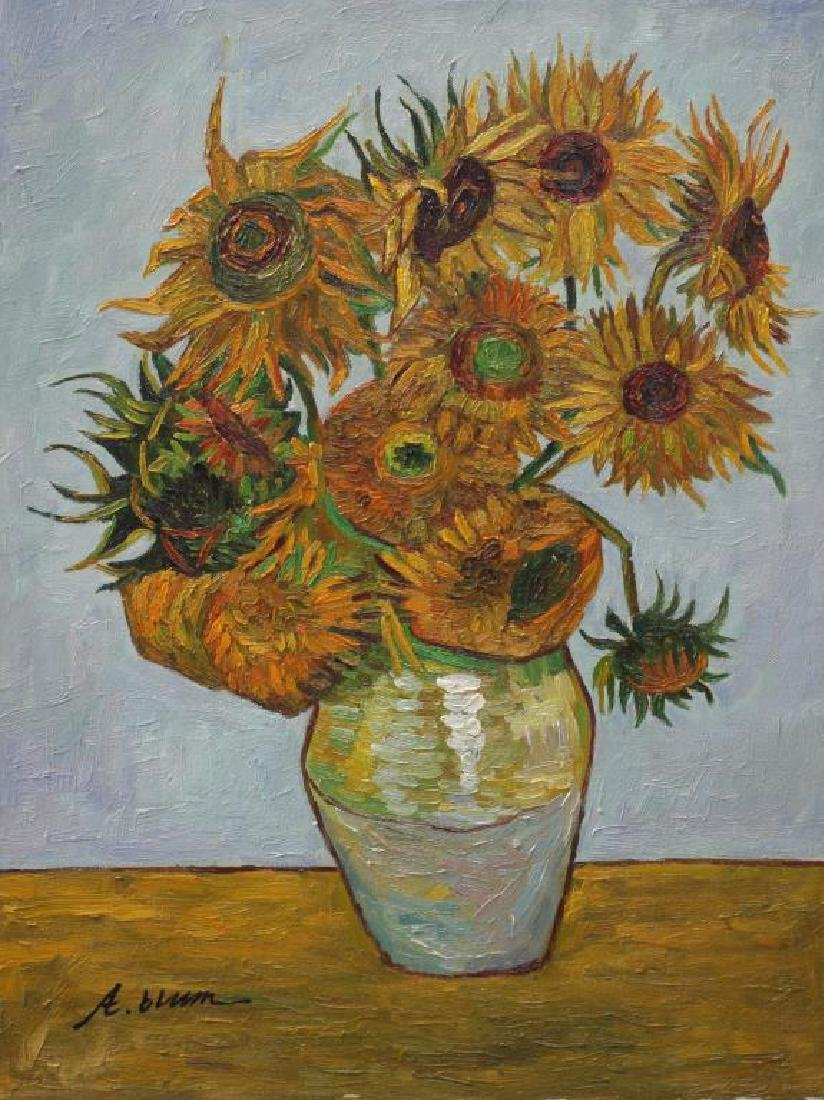 OIL PAINTING ON CANVAS OF SUNFLOWERS