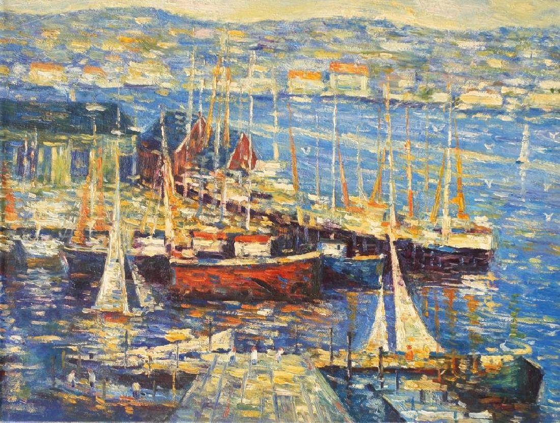 OIL PAINTING ON CANVAS OF HARBOR