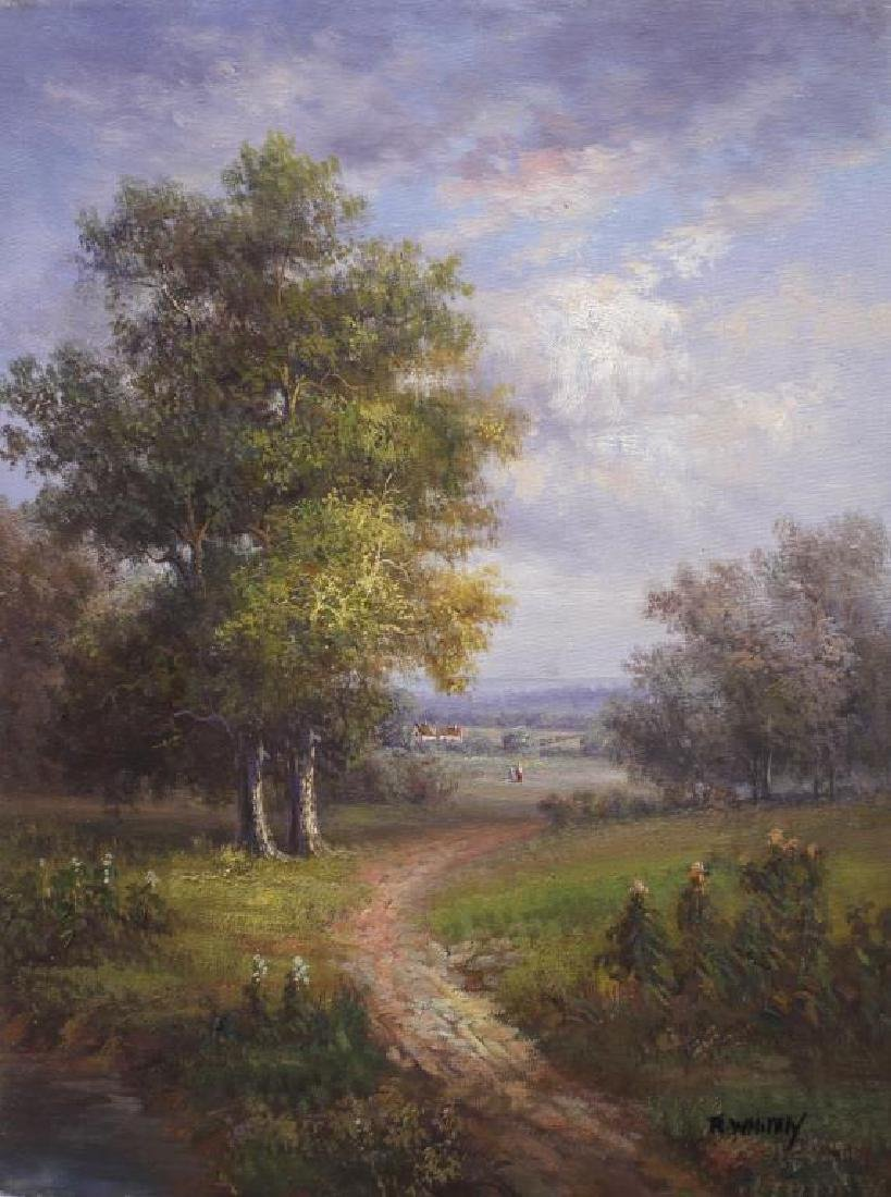 OIL PAINTING ON CANVAS OF A PATH SCENE