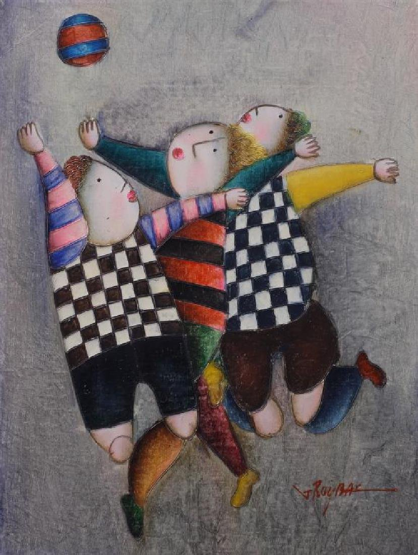 OIL PAINTING ON CANVAS OF THREE BOYS