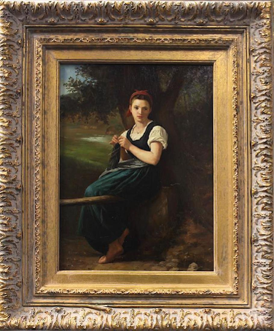 FRAMED OIL PAINTING ON CANVAS OF A GIRL KNITTING