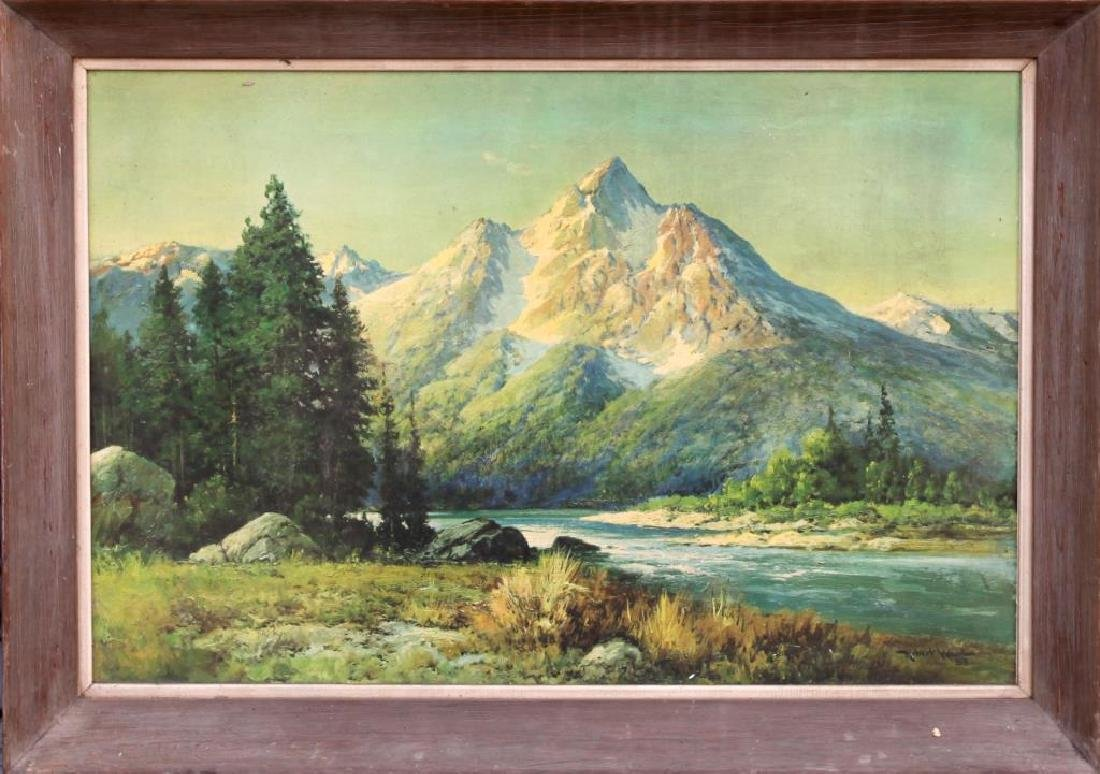 FRAMED OIL PAINTING OF EVENING IN THE TETONS