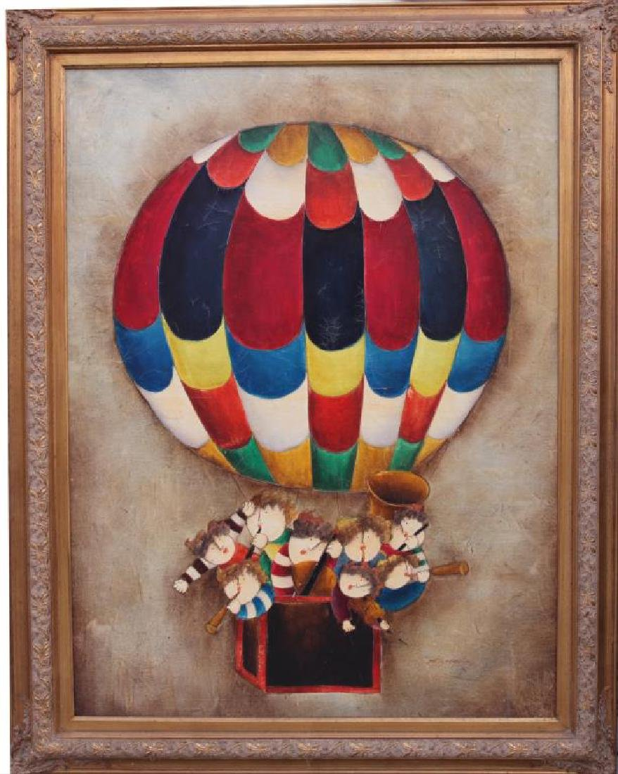 FRAMED OIL PAINTING ON CANVAS OF MUSICIANS BALLOON