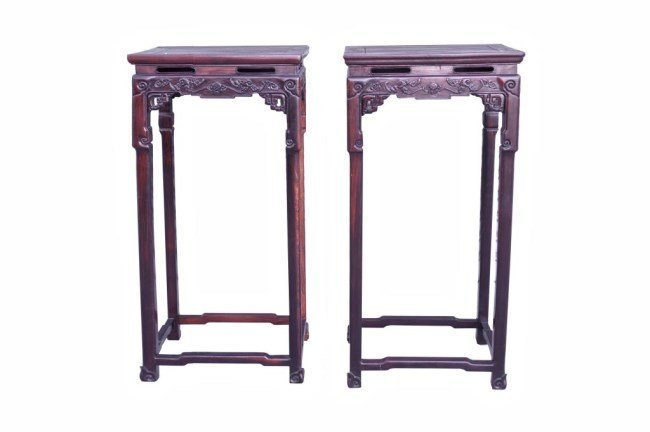 PAIR OF CHINESE CARVED WOOD FLOWER STANDS