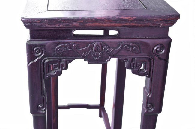 PAIR OF CHINESE CARVED WOOD FLOWER STANDS - 2