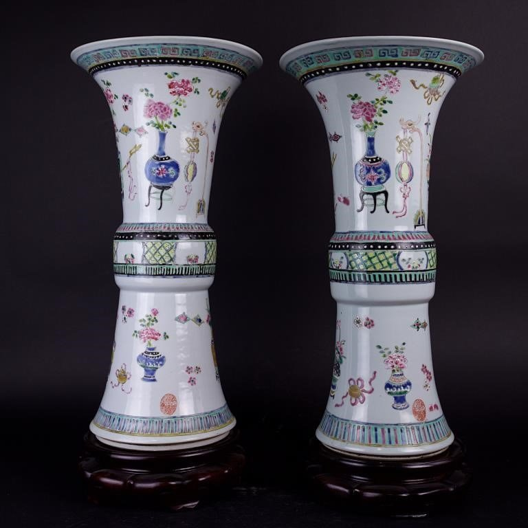 PAIR OF CHINESE GU VASES WITH STANDS