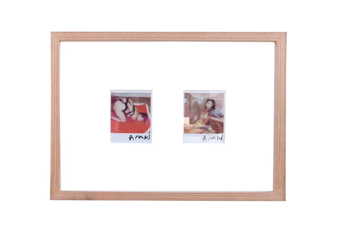 SET OF TWO SIGNED POLAROID PICTURES, FRAMED