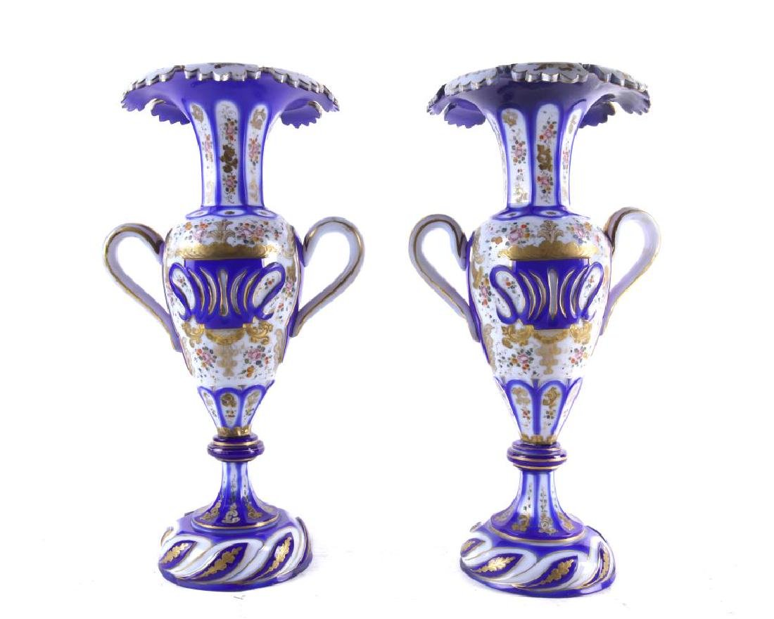 PAIR OF BOHEMIAN OVERLAY VASES WITH HANDLE