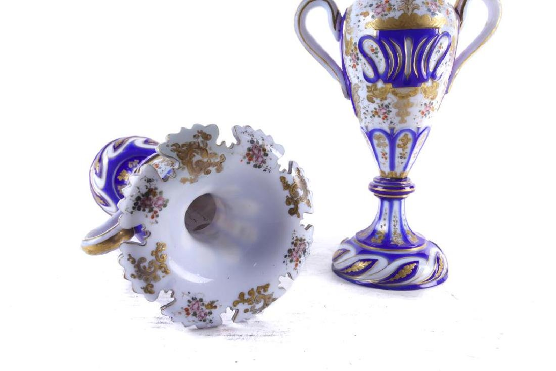 PAIR OF BOHEMIAN OVERLAY VASES WITH HANDLE - 2