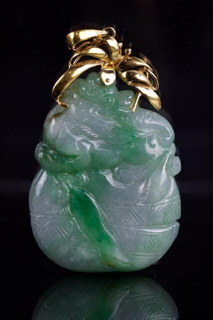 CHINESE JADE PENDANT WITH 14K GOLD