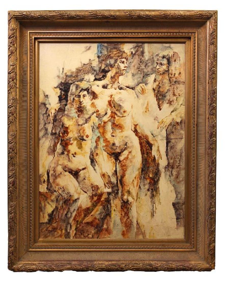 OIL ON CANVAS PAINTING OF THREE NAKED GIRLS
