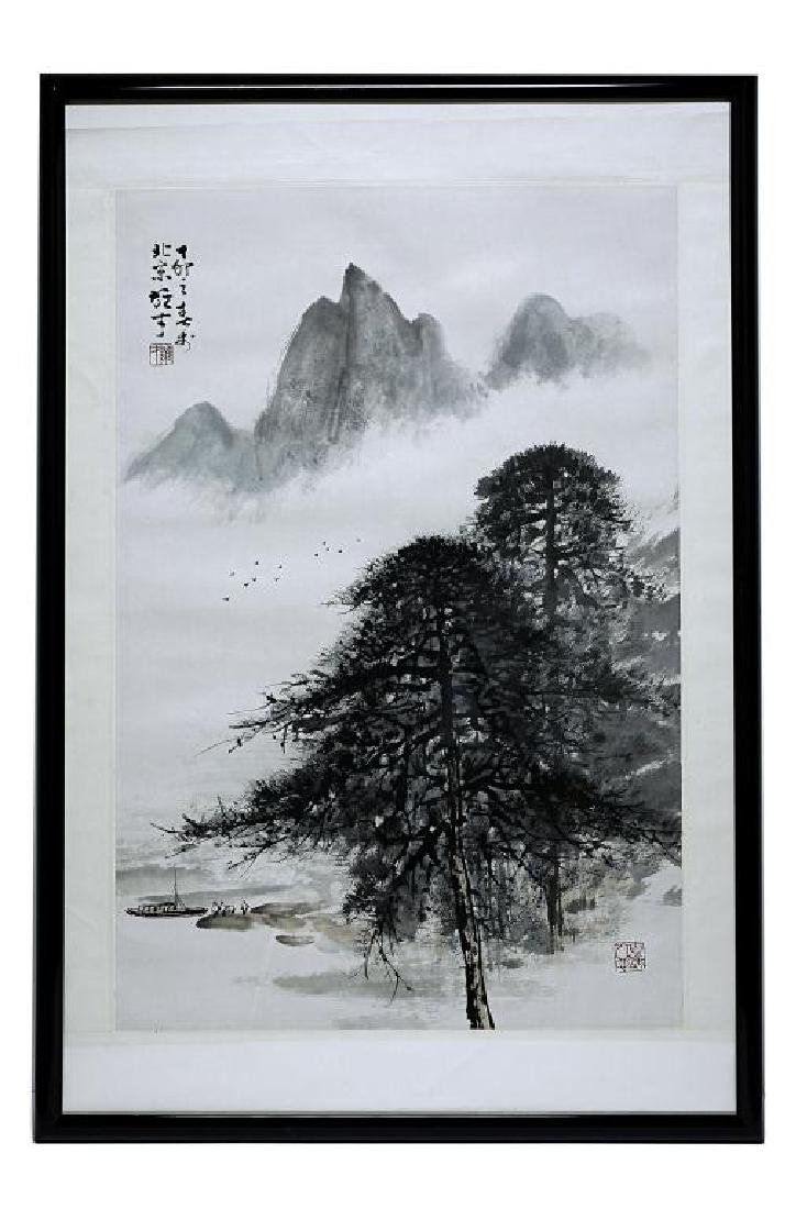 CHINESE FRAMED PAINTING OF A LANDSCAPE