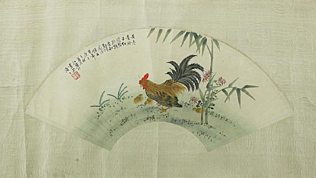 CHINESE FRAMED PAINTING OF A ROOSTER