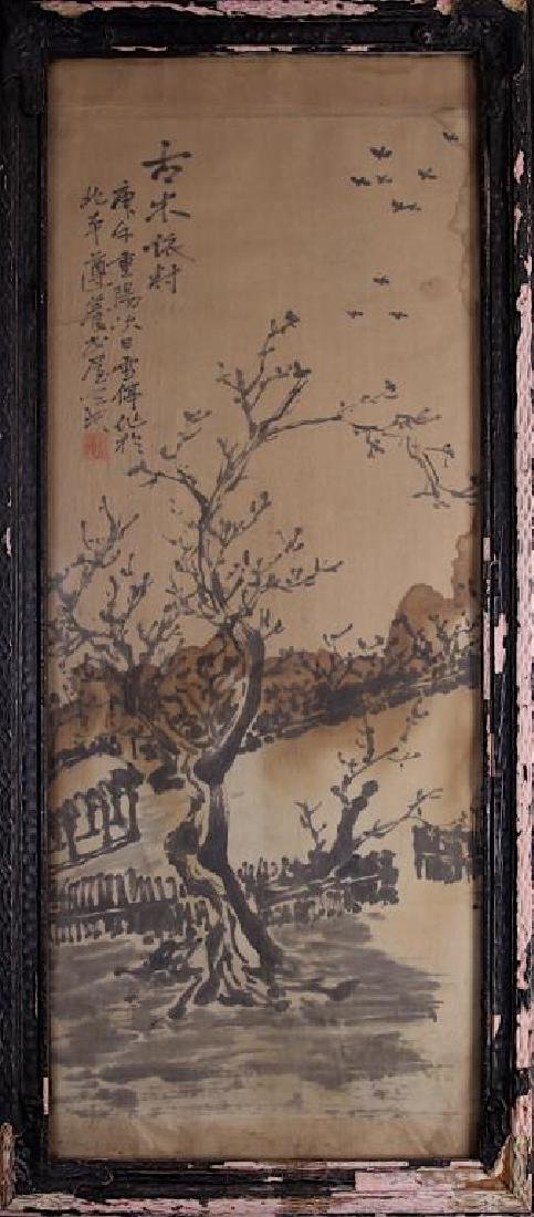 CHINESE FRAMED PAINTING OF A VILLAGE LANDSCAPE