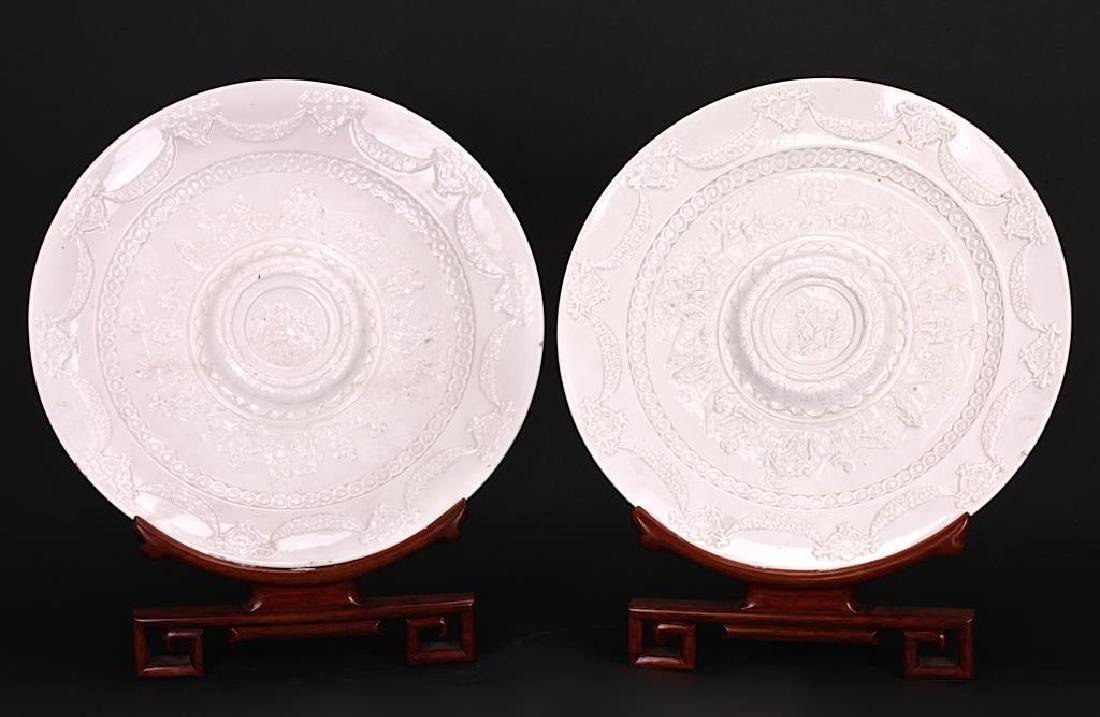 PAIR OF ITALIAN CAPODIMONTE PORCELAIN CHARGERS