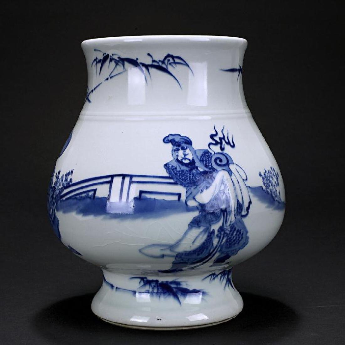 JAPANESE ANTIQUE HIRADO BLUE AND WHITE VASE