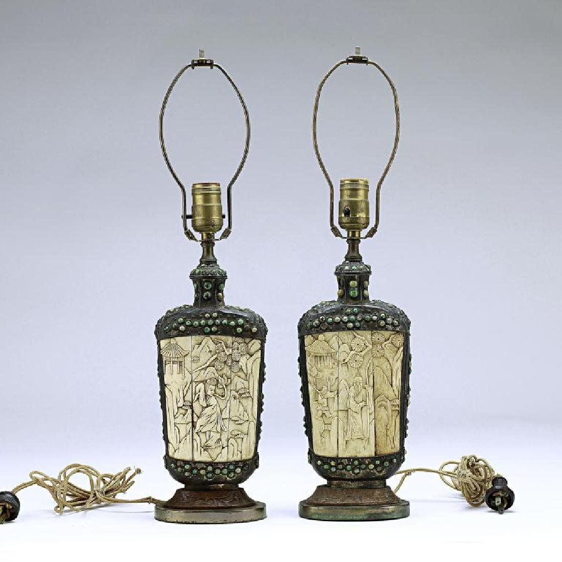 PAIR OF MONGOLIAN SILVERED FLASKS