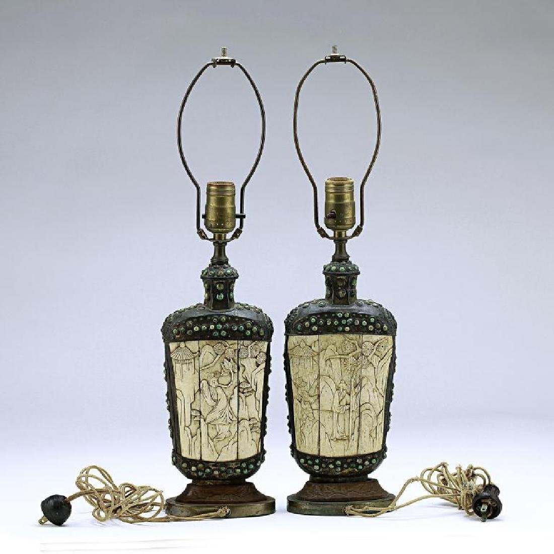PAIR OF MONGOLIAN SILVERED FLASKS - 2
