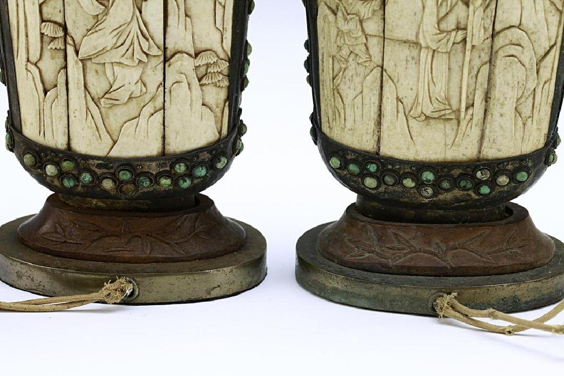 PAIR OF MONGOLIAN SILVERED FLASKS - 4