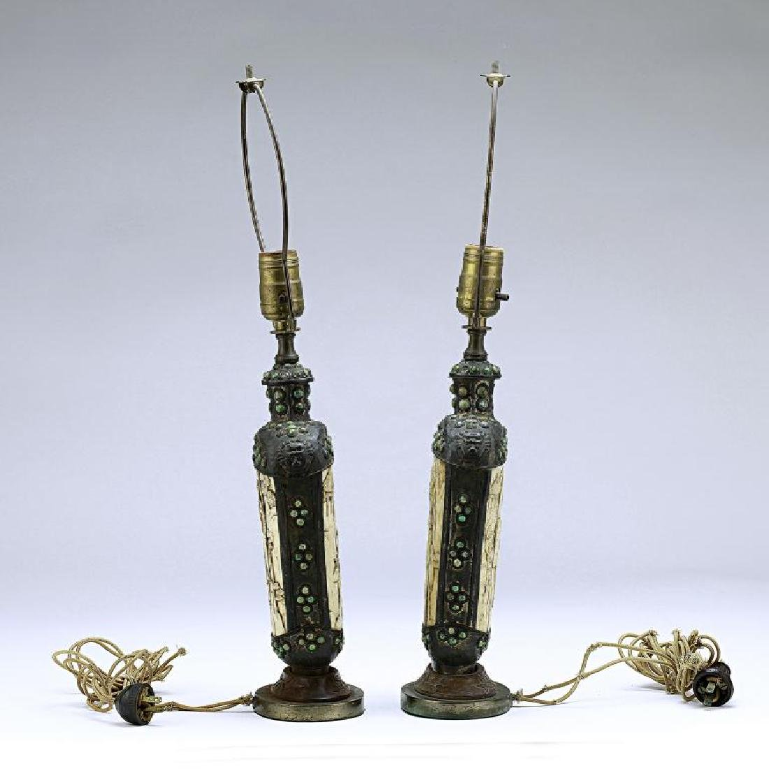 PAIR OF MONGOLIAN SILVERED FLASKS - 7