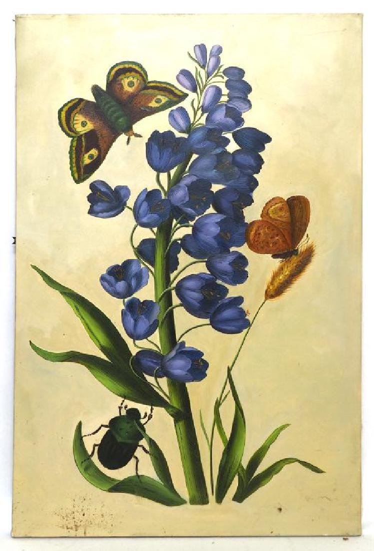 OIL ON CANVAS PAINTING OF FLORAL SPRIG AND INSECTS