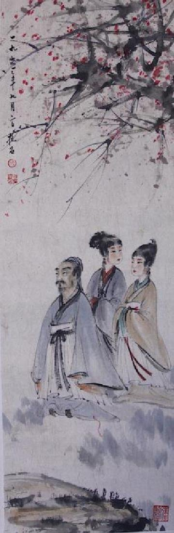CHINESE SCROLL PAINTING OF THREE FIGURES