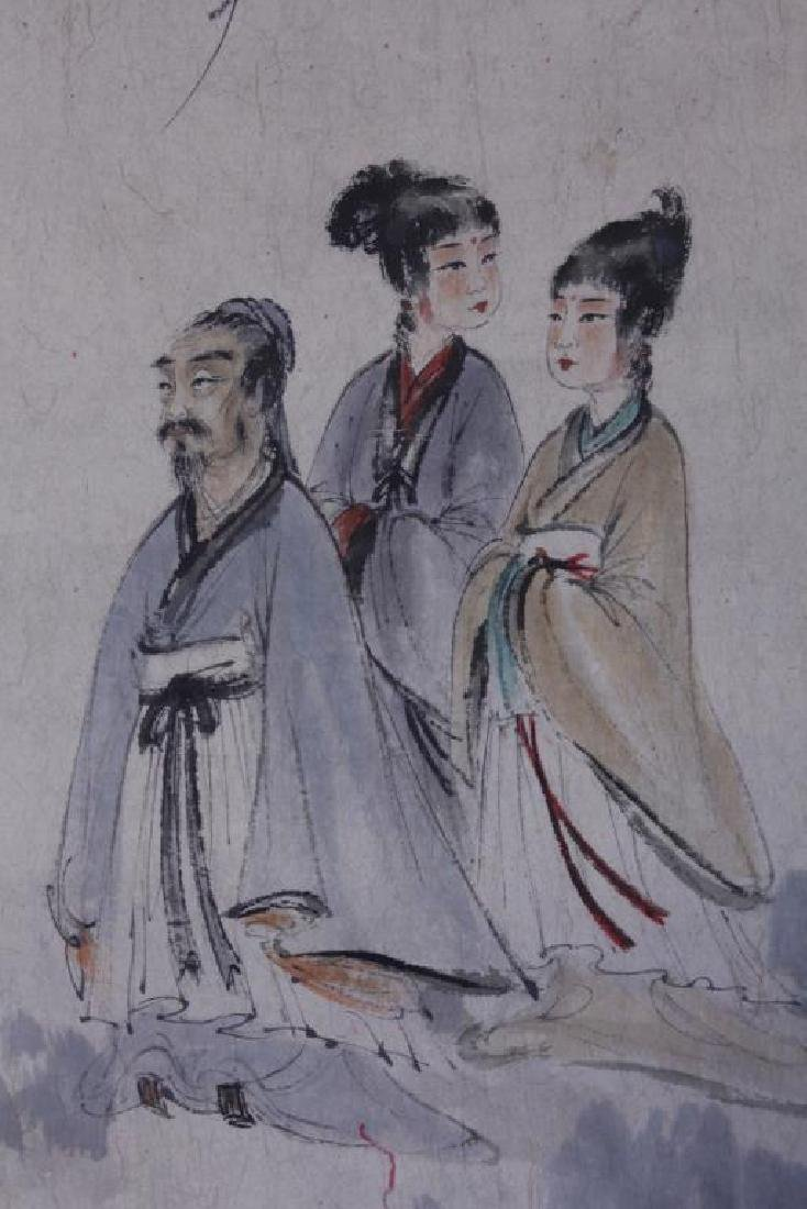CHINESE SCROLL PAINTING OF THREE FIGURES - 3