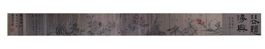CHINESE SCROLL PAINTING OF FLOWERS AND BUTTERFLIES