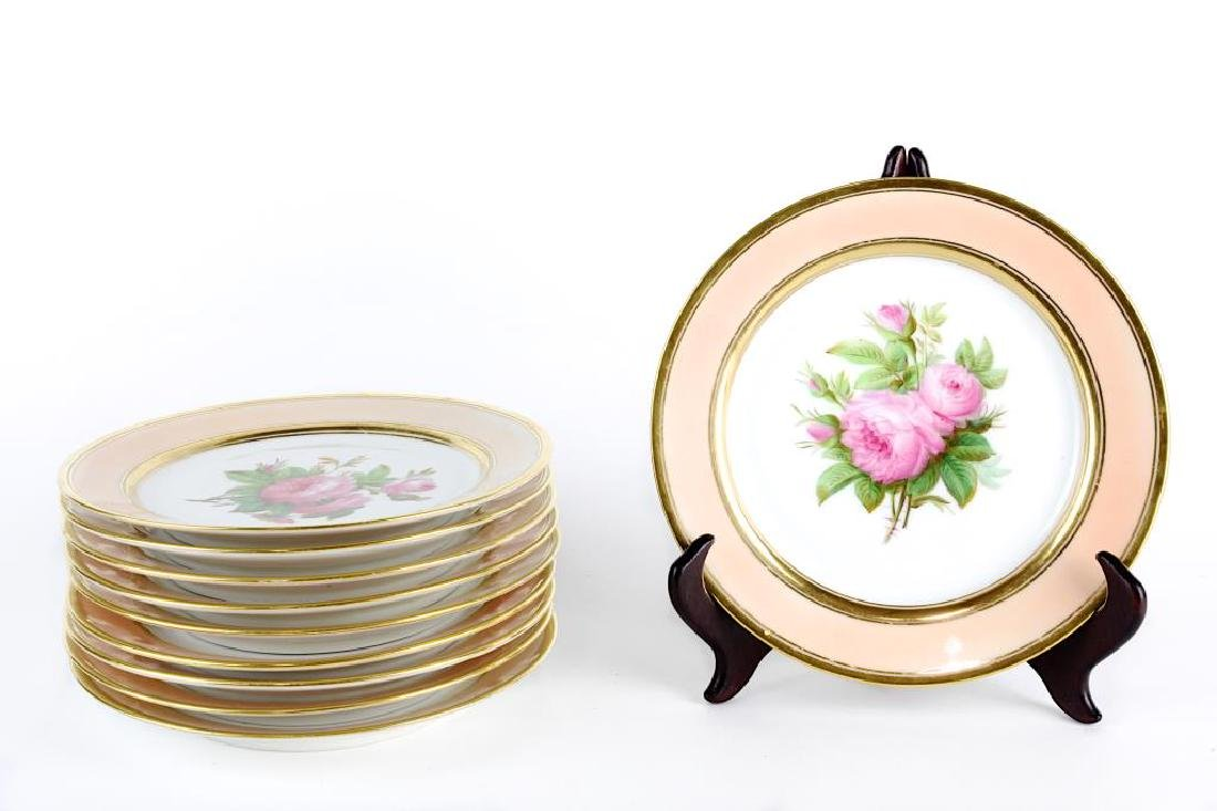 SET OF 10 HANDPRINT DESSERT PLATES WITH GILT EDGED