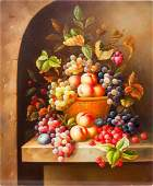 OIL PAINTING ON CANVAS OF FRUIT STILL LIFE