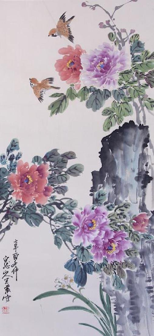 CHINESE SCROLL PAINTING OF PEONIES AND BIRDS