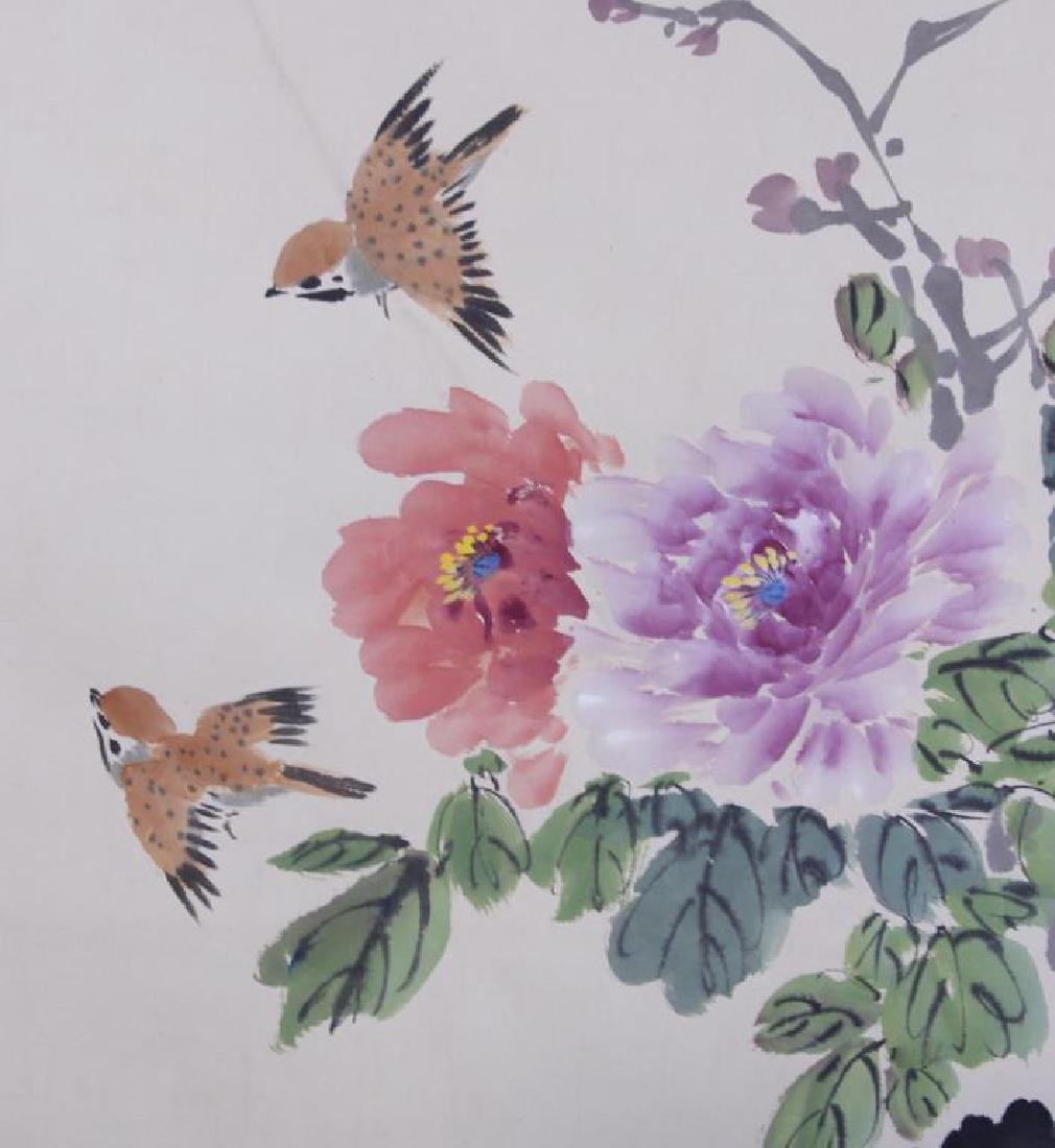 CHINESE SCROLL PAINTING OF PEONIES AND BIRDS - 3